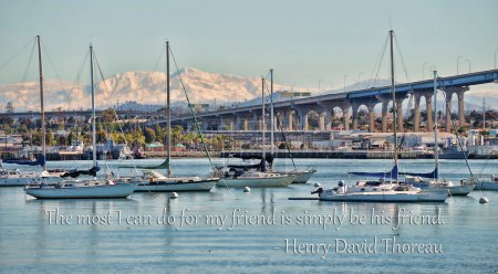 San Diego's Coronado Bay Bridge and some boats