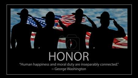 """Photo pour Quatre instructeurs d'exercices de l'USMC saluent. """"Le bonheur humain et le devoir moral sont inséparablement liés"""" - George Washington - image libre de droit"""