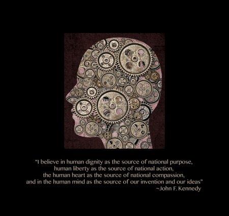 Photo pour Tête à engrenages. la citation que john f. kennedy dit sur la dignité humaine, de liberté, de coeur et d'esprit. - image libre de droit