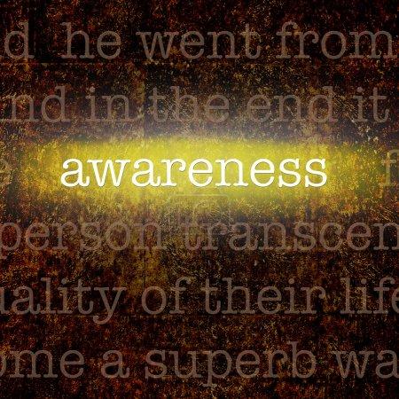 Photo pour Le mot SENSIBILISATION sur fond de grognement avec d'autres mots de motivation sur le leadership . - image libre de droit