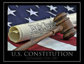 Constitution document, gavel and American flag