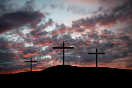 Three crosses on a hilltop