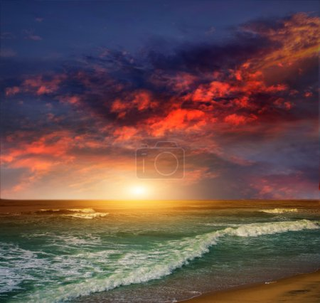 Photo for Folly Beach Ocean Sunset Landscape seascape scene in the Indian Ocean - Royalty Free Image