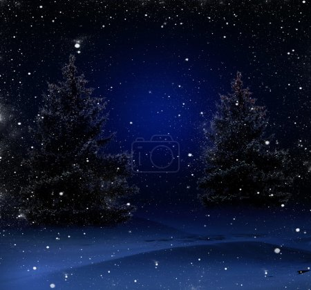 Photo for Blue Christmas background with Christmas trees - Royalty Free Image