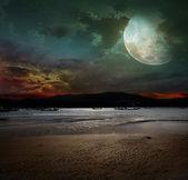 Night fishing in the ocean
