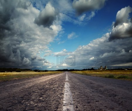 Photo for Country road leading to the church - Royalty Free Image