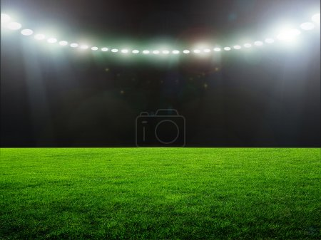 Photo pour Stade, herbe, champ, vert, football, rugby, jeu, éclairage, nuit, concours, vide - image libre de droit