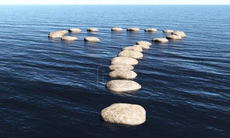 Photo pour Un chemin en forme de point d'interrogation fait de pierres au-dessus de la surface des eaux profondes, par une journée ensoleillée . - image libre de droit