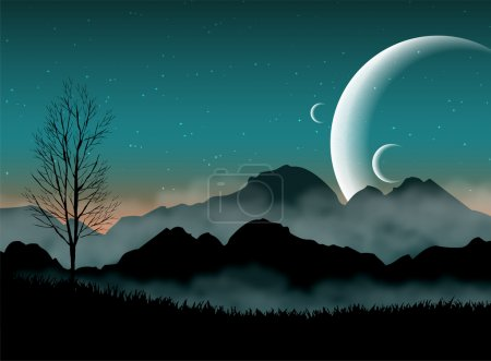 Illustration for SF space night sky with silhouette mountains and close planets - Royalty Free Image