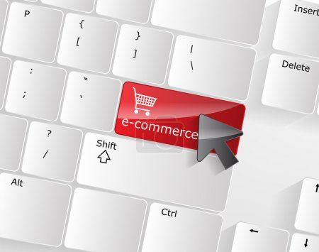 Illustration for Computer Keyboard with e-commerce Key and a black arrow on it. - Royalty Free Image