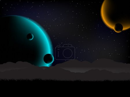 Illustration for Science fiction background view with 4 planets from the Earth. - Royalty Free Image