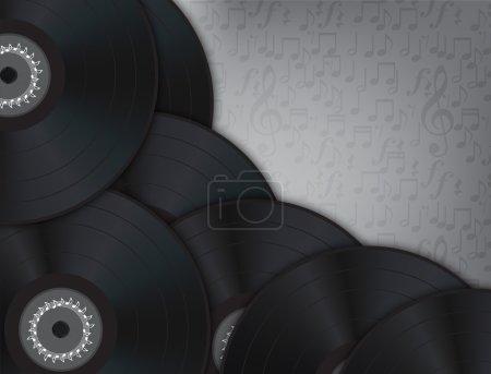 Illustration pour Musique de fond en vinyle avec nombreux disques de vinyle dans la gauche et en bas de l'image. - image libre de droit