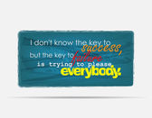 I don't know the key to success but the key to failure is trying to please everybody Motivational background Typography poster
