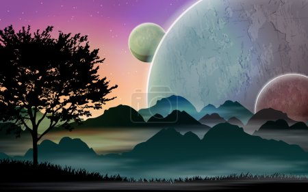 Illustration for Space landscape with silhouettes and planets - Royalty Free Image