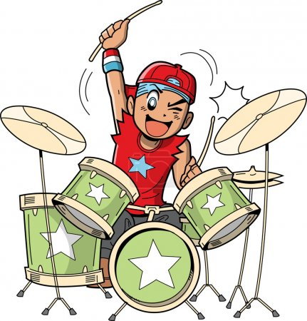 Illustration for Fun anime and manga style cartoon drummer rocks out when he's playing drums - Royalty Free Image