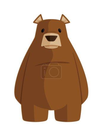 Illustration pour Ce fichier est pour une illustration simplifiée de dessin animé vectoriel d'un ours brun légèrement peu enthousiaste . - image libre de droit