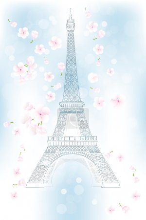 Hand drawn Eiffel tower in spring