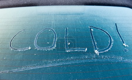 Photo for The word cold written on a frozen car screen - Royalty Free Image