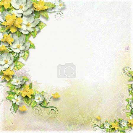 Photo pour Vintage fond avec timbre-frame et fleurs pour félicitations et invitations - image libre de droit