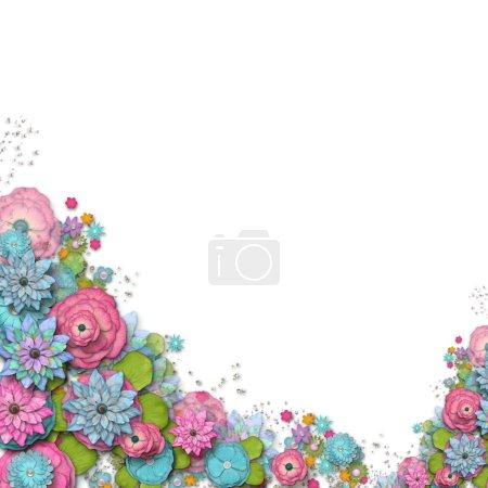 Photo pour Fond vintage avec cadre de timbre et fleurs pour félicitations et invitations - image libre de droit