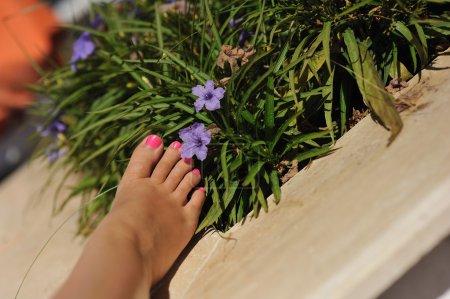 Photo pour Beau pied féminin avec une pédicure près de couleurs sur un lit - image libre de droit