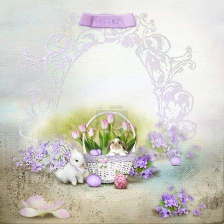 Photo pour Carte postale Vintage, sur un fond doux des oeufs et des lapins mignons - image libre de droit