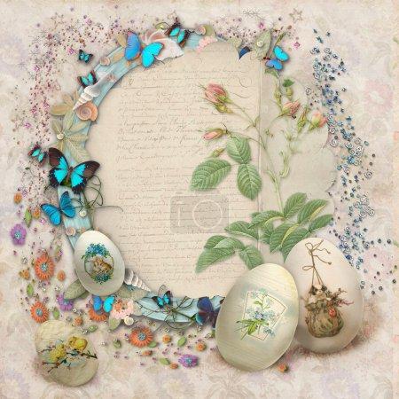 Photo pour Postcard vintage de Pâques avec beaux œufs et espace pour le texte - image libre de droit