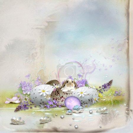 Photo pour Carte postale-belle composition de Pâques avec des oeufs, lapin - image libre de droit