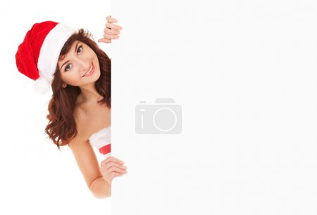 Santa woman with white blank board