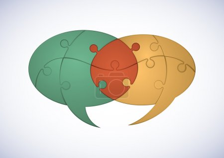 Two Intersecting Puzzle Pieces Speech Bubbles Denoting Cooperation Concept