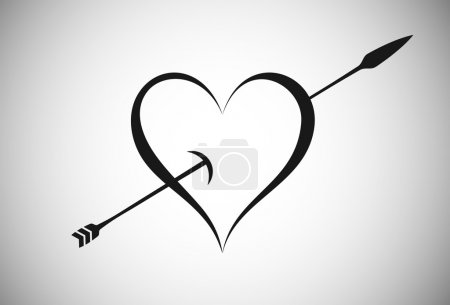 Arrow Crossing Through a Heart Illustration