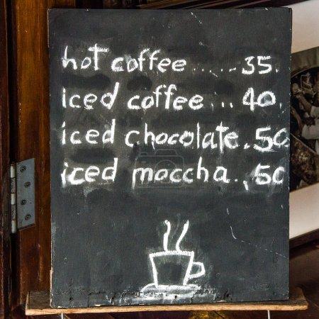 Blackboard of menu coffee