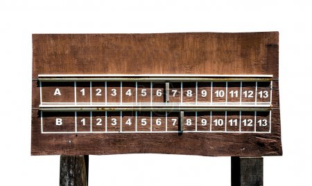 Wooden Scoreboard isolated on white background
