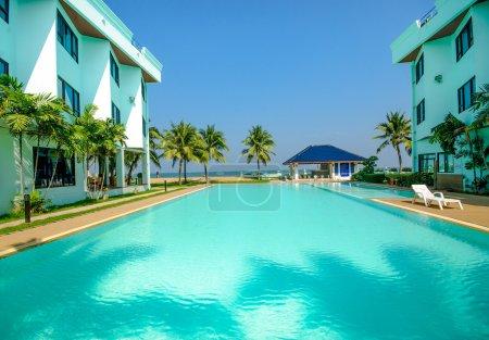 Beautiful of swimming pool near the sea