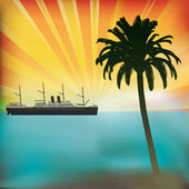 Vintage Sea Cruise Tropical Vector Background with a sunset and classic Steam Liner