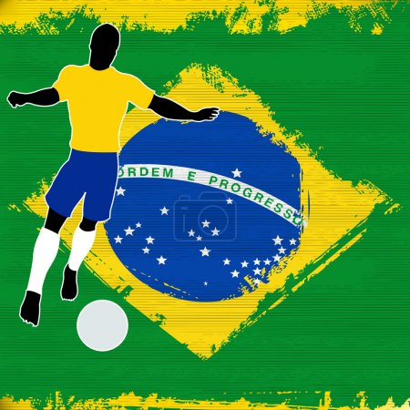 Football Brazil, Vector Soccer player over a grung...