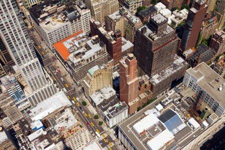Downtown City Street Birds Eye View New York