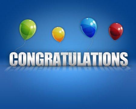 Congratulations Balloons 3D Background