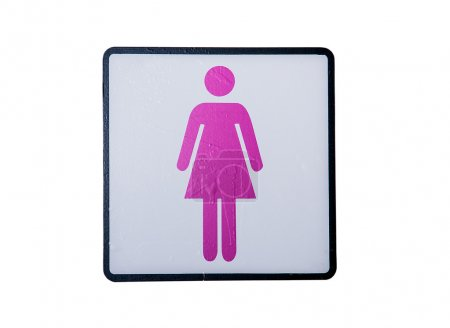 Photo for Women's room sign isolated on white background. - Royalty Free Image