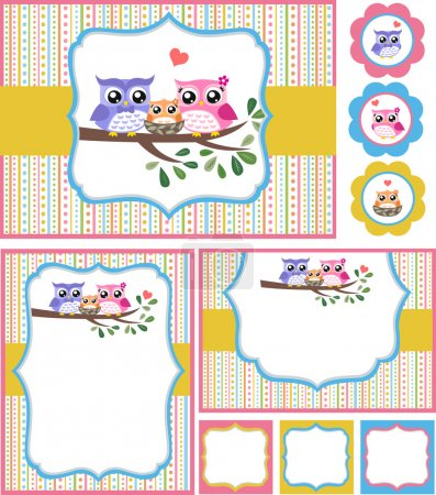 Owl baby shower invitation card set