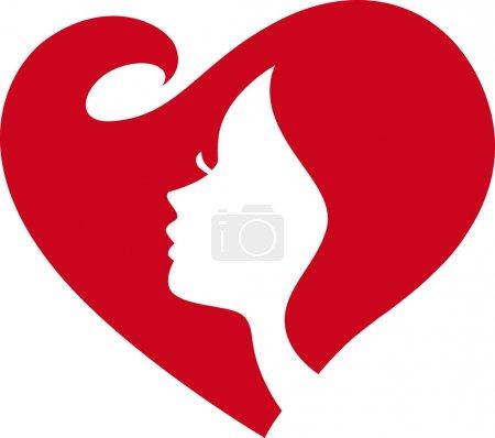 Illustration pour Silhouette féminine Coeur rouge - image libre de droit