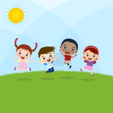 Multicultural Children Jumping On Hill