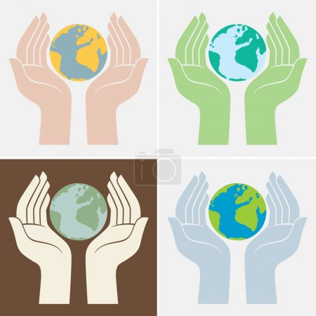 Hands holding earth, save the planet