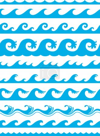 Illustration for Seamless ocean wave set - Royalty Free Image