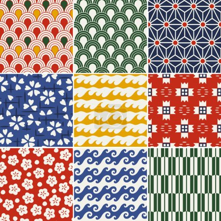 Illustration for Seamless japanese kimono pattern - Royalty Free Image
