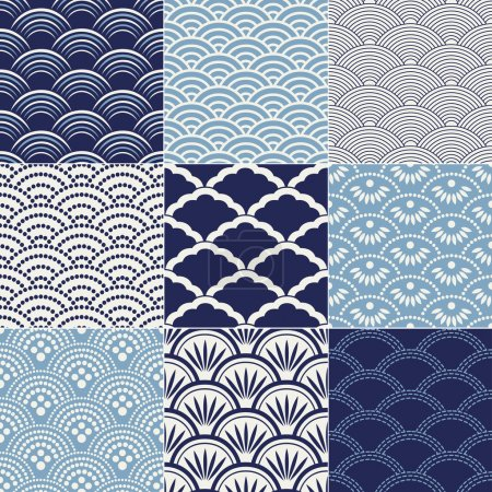 Illustration for Japanese seamless ocean wave pattern - Royalty Free Image