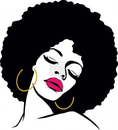 Afro hair hippie woman pop art...