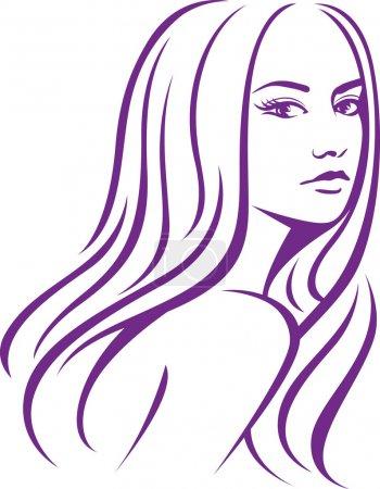 Illustration pour Femme aux cheveux longs - image libre de droit