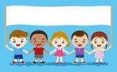 Cute multicultural children hand in hand