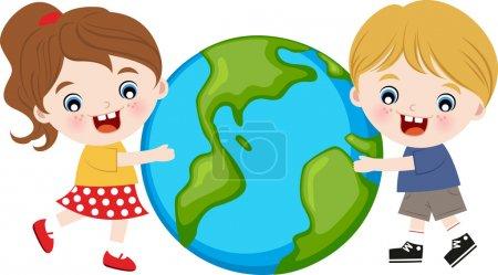 Illustration pour Enfants embrassant la terre - image libre de droit